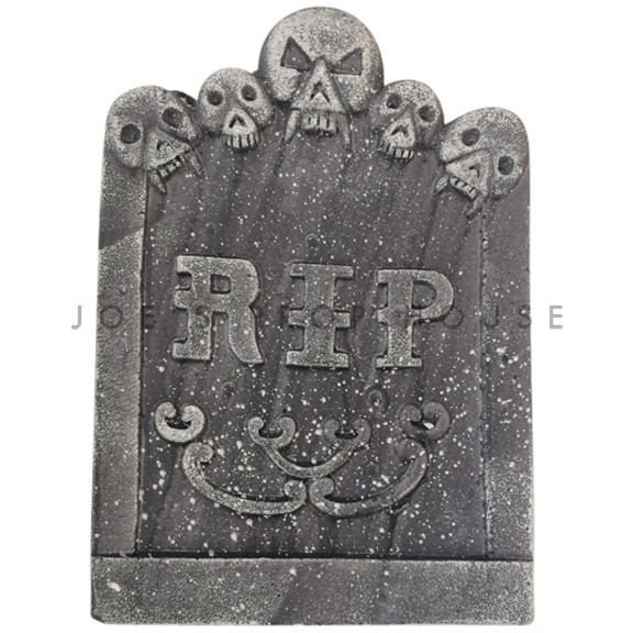 Skull Heads RIP Foam Tombstone Charcoal