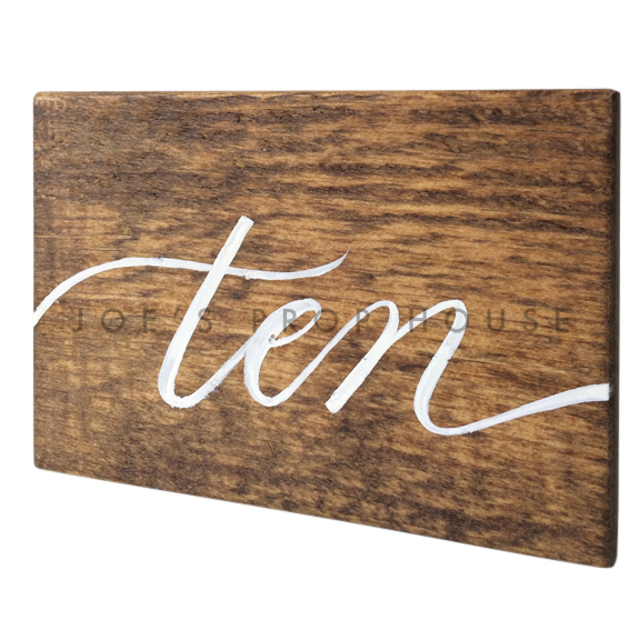 Wooden Table Number Block TEN W7in x H5in