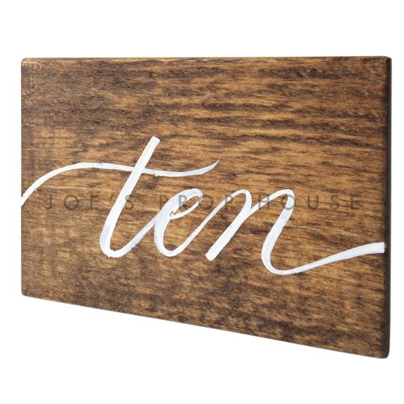 Wooden Table Number Block TEN W7in x H5in