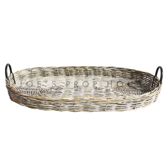 Holder Whitewash Wicker Serving Basket w/Handles