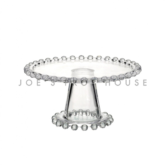 Beatrice clear glass beaded cake stand SMALL D7.5in