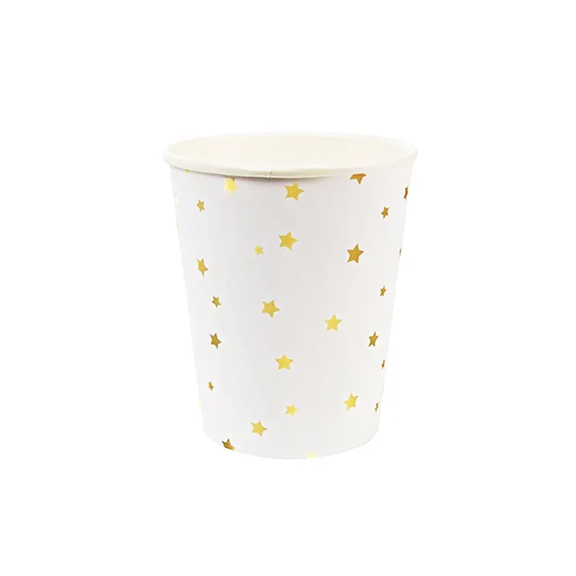 BUY ME / NEW ITEM $6.99 each Gold Stars Paper Cups - 8 Pack