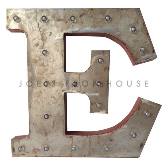 18in Galvanized Metal Marquee Letter E