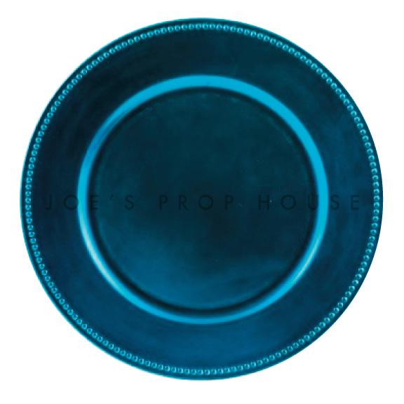 Sous-Assiette Bleu Océan avec Perles