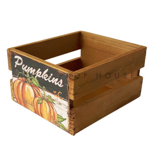 Pumpinks Wooden Crate Small Brown