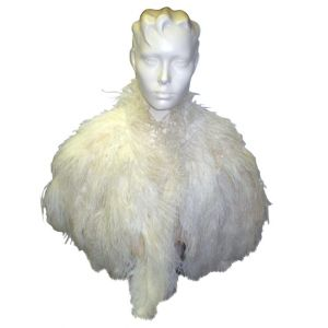 Ostrich Feather Shawl White