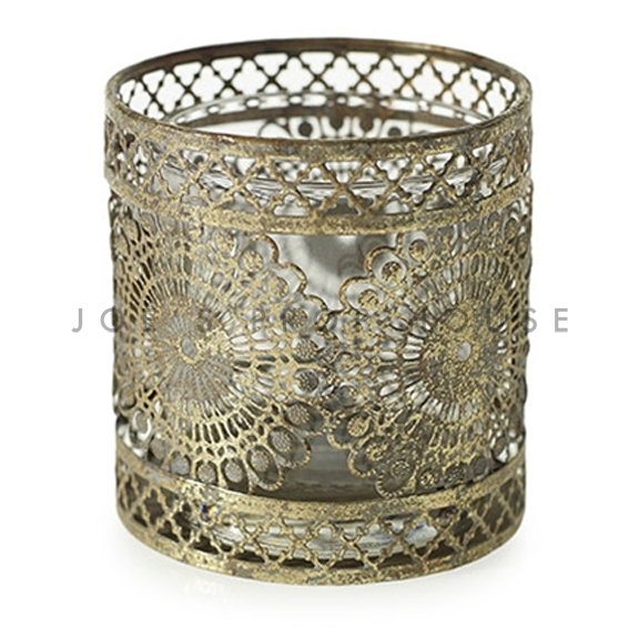 Mendhi Floral Metal Aged Gold Votive Cup SHORT
