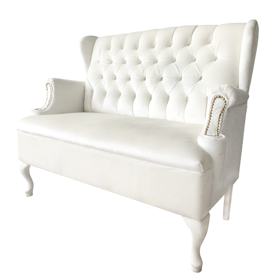 Remi Velour Low Back Banquette Ivory W52in x D24in x H41in