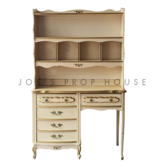 Abbey Desk and Hutch Ivory w/Gold Trim