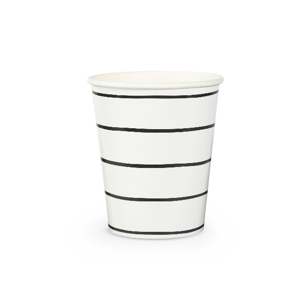 BUY ME / NEW ITEM $6.99 each Black & White Stripe Paper Cups - 8 Pack