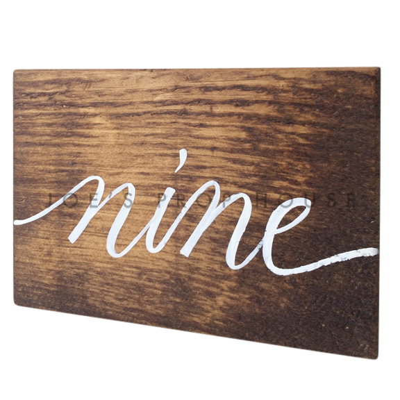 Wooden Table Number Block NINE W7in x H5in
