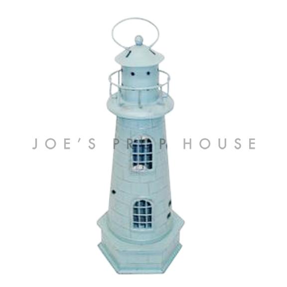 Metal Lighthouse Lantern Teal