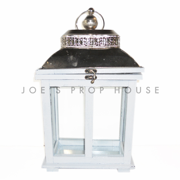 Rectangular Wood Cottage Lantern White Small