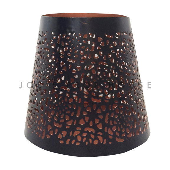 Perforated Black Metal w/Rose Gold Interior Votive Cups
