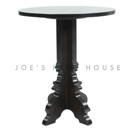 Lasercut Round End Table Dark Brown