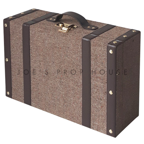 Tweed Hardshell Suitcase Dark Brown LARGE