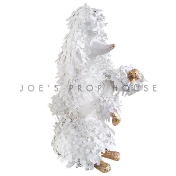 Lifesize Sitting Up Papier Maché Poodle White/Gold