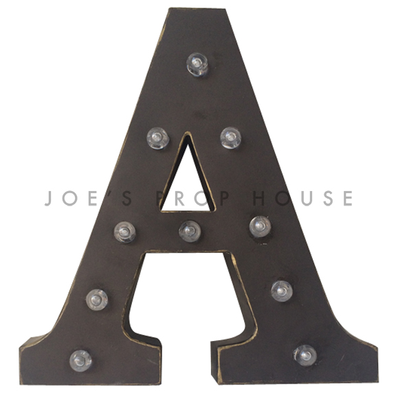 12in Charcoal Metal Marquee Letter A