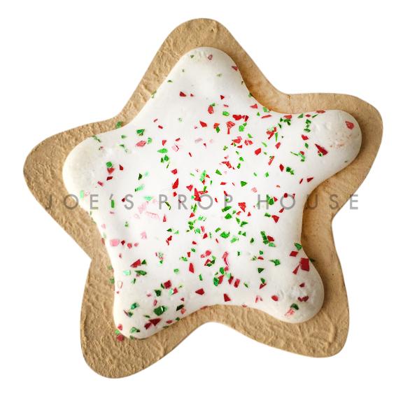 White Icing Star Cookie w/Glitter Dessert Prop