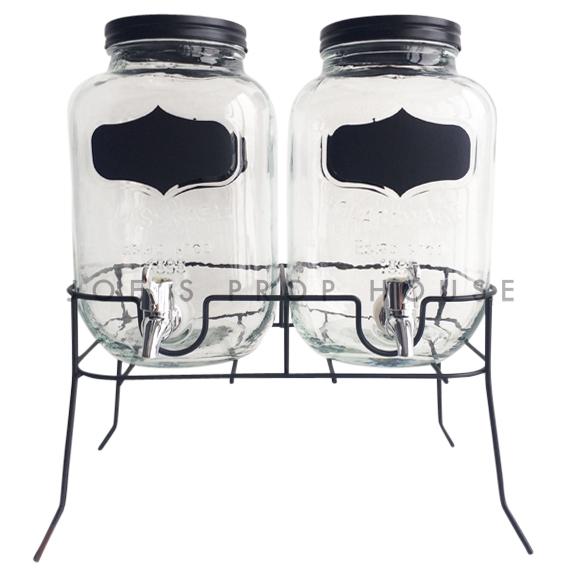 Dellan Distributeurs d'eau en verre double avec étiquettes noires et support en métal-3 litres chaque