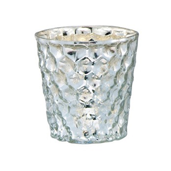 Silver Honeycomb Mercury Glass Votive Cups