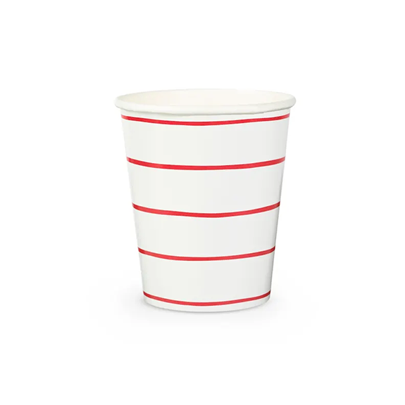 BUY ME / NEW ITEM $6.99 each Red Frenchie Stripe Paper Cups - 8 Pack
