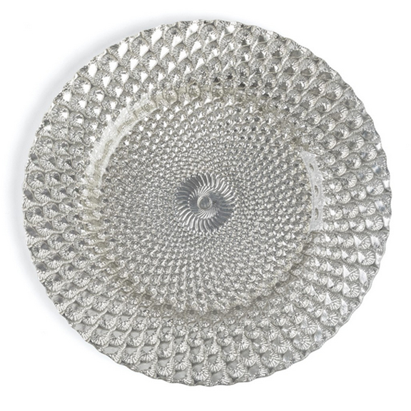 Honeycomb Silver Glass Charger Plate