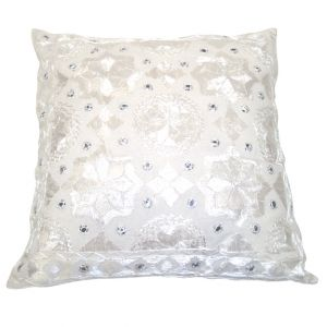 Isha Embroidered Accent Pillow White