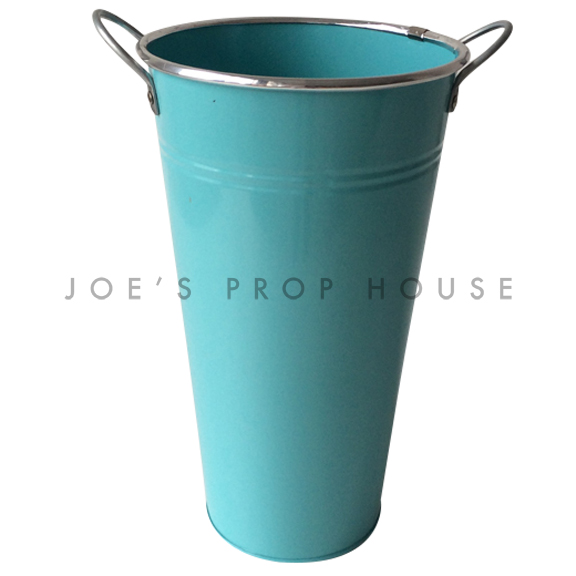 Tall Metal Bucket w/Handles Turquoise