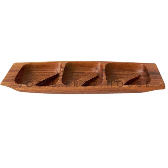 Plat à servir 3 compartiments Nellie Acacia bois avec cuillères
