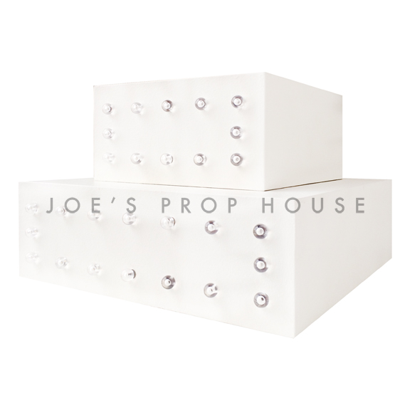 White Square Marquee Display Risers Stacked SMALL + LARGE