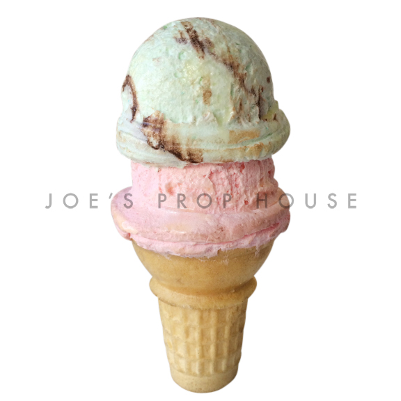 Mint Strawberry Double Scoop Ice Cream Cone Dessert Prop