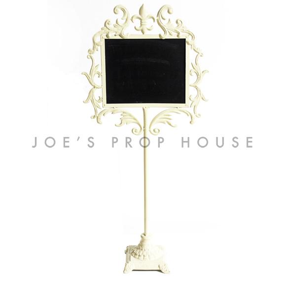 Fleur de Lys Metal Chalkboard Stand Ivory