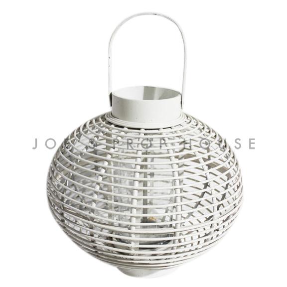 Gardenia Wicker Lantern White Medium
