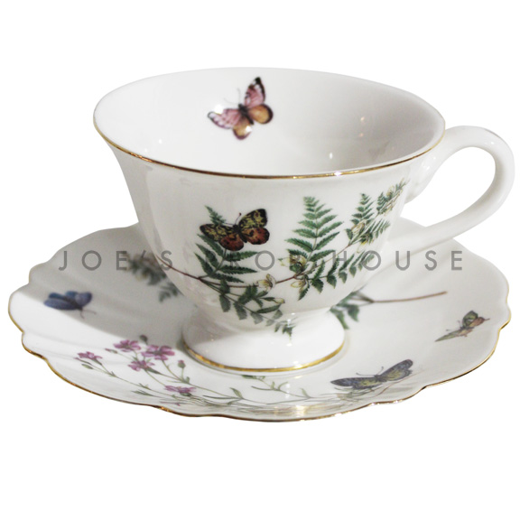 Butterfly Floral Teacup and Saucer
