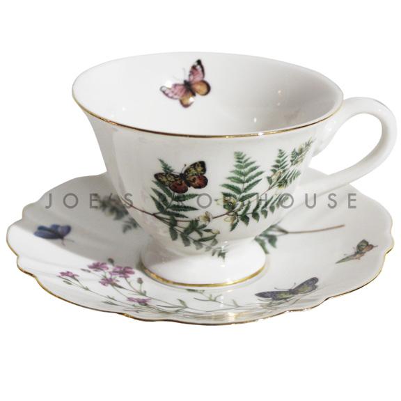 Tasse à thé et soucoupe florale Butterfly