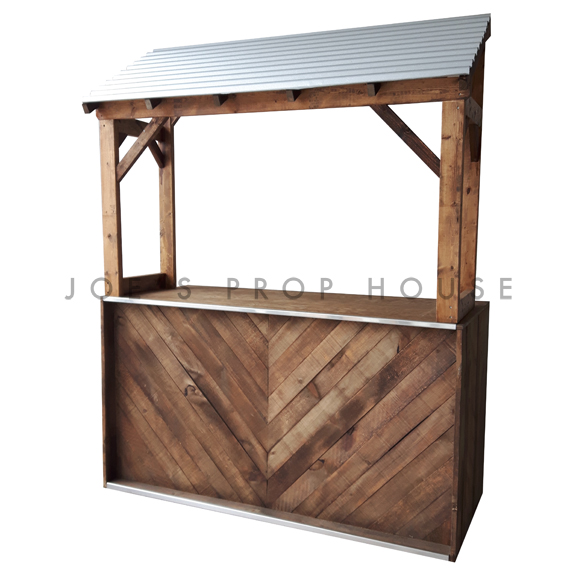 Herringbone Bar w/Corrugated Metal Awning L6ft