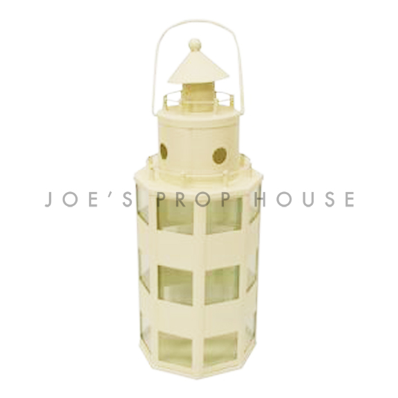 Metal Lighthouse Lantern Ivory