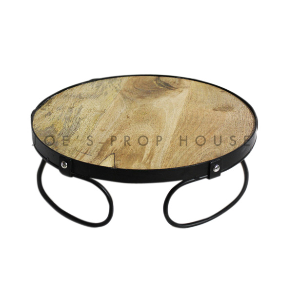 Embla Round Wood & Metal Cake Stand Medium D14in