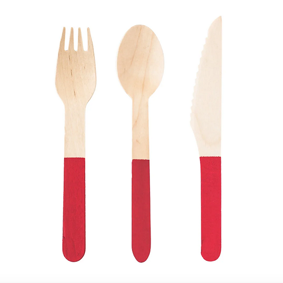 BUY ME / NEW ITEM $8.99 each Wooden Cutlery Set Red - 24 Pack