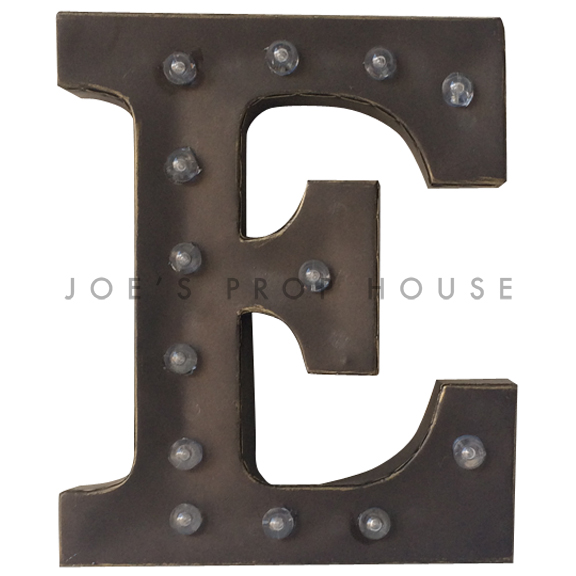 12in Charcoal Metal Marquee Letter E