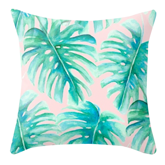 Watercolor Split Leaf Philodendrom Accent Pillow Pink