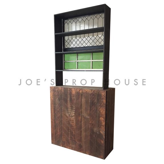 chevrons-console-vintage-vert-fenêtre-étagère
