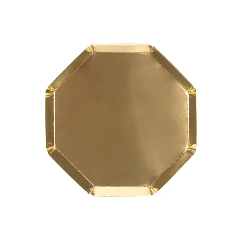 BUY ME / NEW ITEM $8.99 each Metallic Gold Small Octagonal Paper Plates - 8 Pack