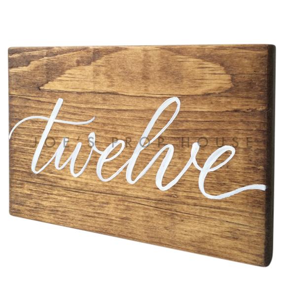Wooden Table Number Block TWELVE W7in x H5in