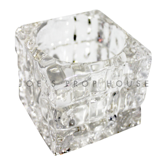 tasses votives en verre transparent croc square