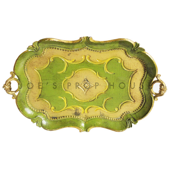 Marokko Oval Wood Serving Tray Green w/Gold Trim