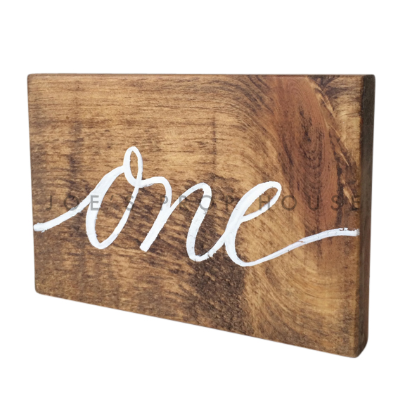Wooden Table Number Block ONE W7in x H5in