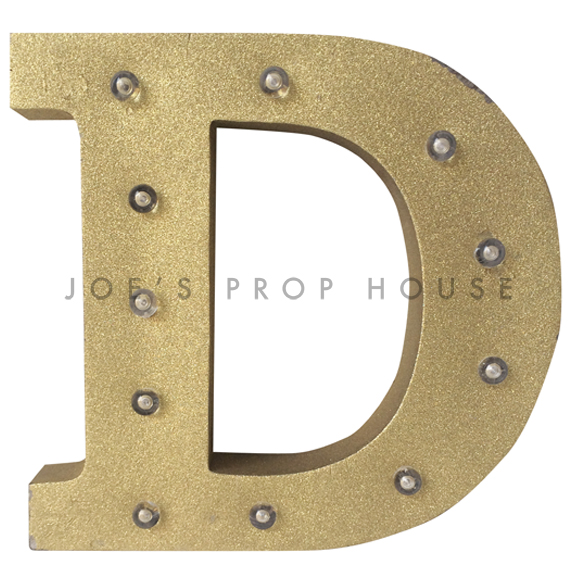 12in Gold Glitter Metal Marquee Letter D