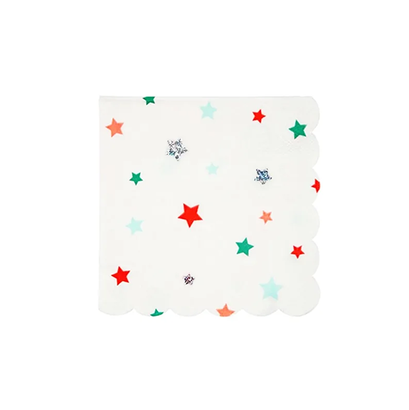 BUY ME / NEW ITEM $6.99 each Assorted Color Stars Small Paper Napkins - 16 Pack